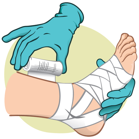 Illustration First Aid person caucasian, standing side view, bandaging the feet, hands with gloves. Ideal for catalogs, information and medical guides Illustration