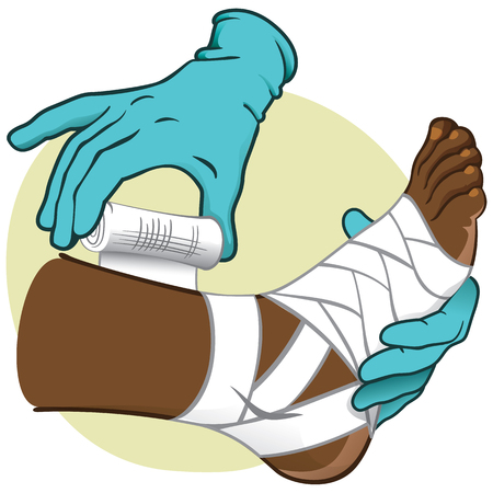 curative: Illustration First Aid person african-descendant, standing side view, bandaging the feet, hands with gloves. Ideal for catalogs, information and medical guides Illustration