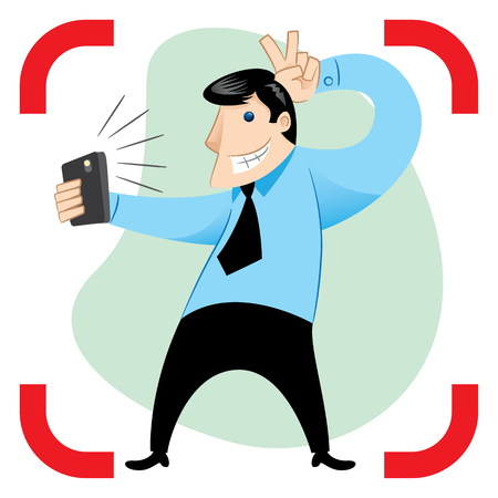 Person shooting, posturing and taking self with the phone. Ideal for promotional and institutional materials Illustration