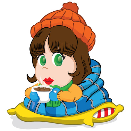 duvet: female mascot, girl brunette long hair, dressed for winter or cold, drinking hot chocolate. Ideal for fashion materials or institutional Illustration