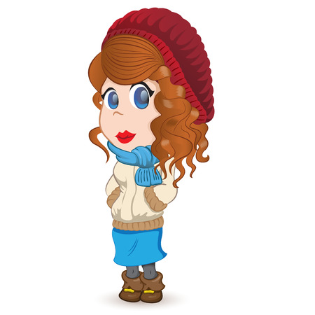 light brown hair: female mascot, redheaded girl curly, curly hair, dressed for winter or cold with beret, scarf and jacket. Ideal for mode materials or institutional