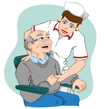 Female nurse caring for an elderly man. Ideal for medical equipment or institutional Illustration