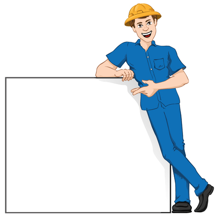 workman: Illustration representing a Caucasian workman leaning on the board, pointing to the plate. Ideal for catalogs, informational and institutional materials