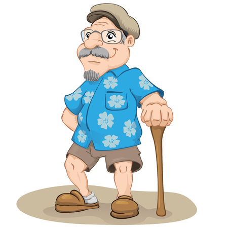 gerontology: sympathetic old male smiling, wearing flowered shirt, beret, Bermuda, slipper and cane. Ideal for geriatric materials and elderly Illustration
