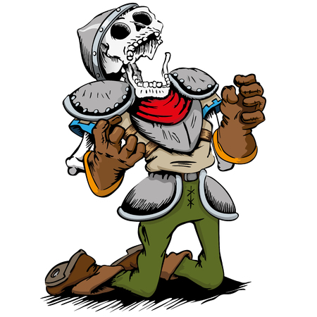 Skeleton of a dead knight dying knees. Ideal for comic and fantasy tales