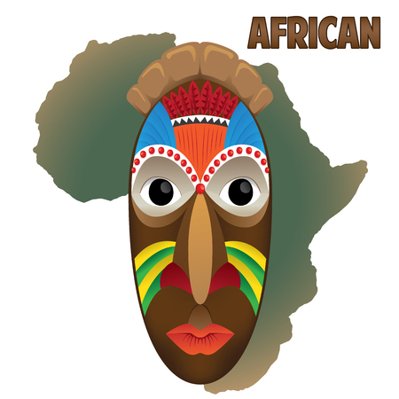Illustration example of art mask ritual African culture. Ideal for institutional and educational materials