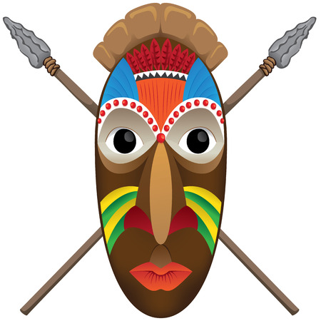 carving: Illustration example of art culture of African ritual mask and war spears. Ideal for institutional and educational materials