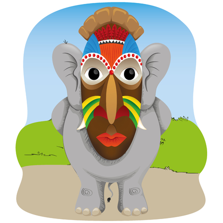 Illustration of an elephant with an African mask. Ideal for institutional and educational materials