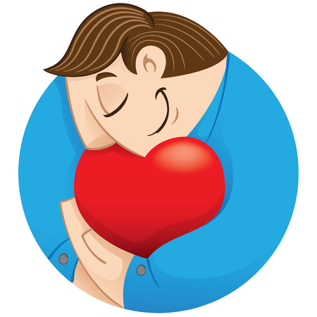 Executive person Illustration embracing a heart showing love. Ideal for institutional and informative catalogs training Illustration