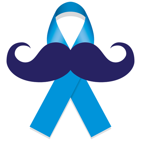 blue ribbon with a mustache. Ideal for educational materials and information against prostate cancer Banco de Imagens - 67483020