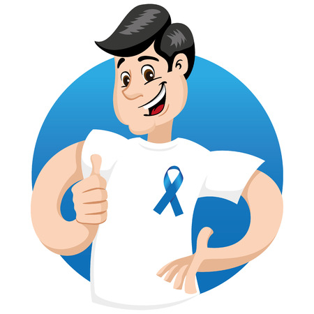 institutional: male mascot supporting movember blue, against prostate cancer, wearing a white shirt with blue tape. Ideal for educational materials and information