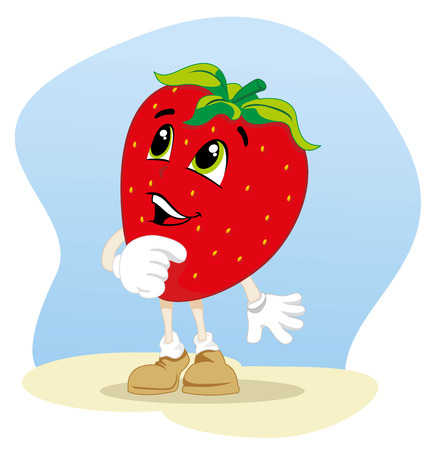 Illustration mascot fruit strawberry. Ideal for childrens stories and information Illustration
