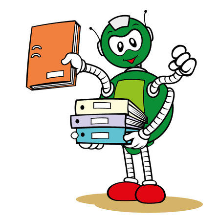 pulp: Illustration of a character general service robot mascot and organizing files, ideal for field training and internal