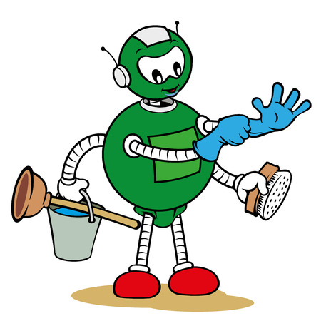 charismatic: Illustration of a robot mascot character of general services and holding cleaning supplies, ideal for field training and internal Illustration