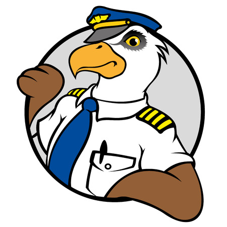 Illustration representing a symbol of an Eagle with pilots uniform