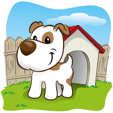 spaying: Illustration representing a pet dog in the backyard with his little house