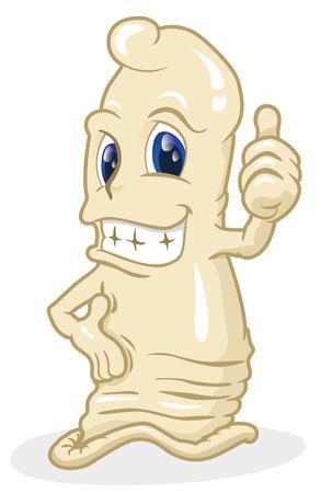 pene: Questa illustrazione e rappresentano un preservativo ideale per campagna di educazione fri e la prevenzione delle malattie a trasmissione sessuale e la gravidanza