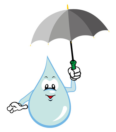 gulp: Illustration mascot drop of water holding an umbrella. Ideal for childrens stories and information