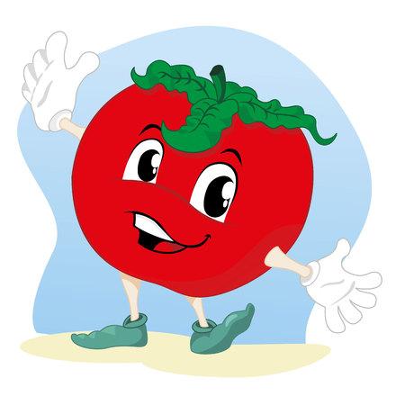 Illustration vegetable tomato mascot. Ideal for childrens stories and information Illustration