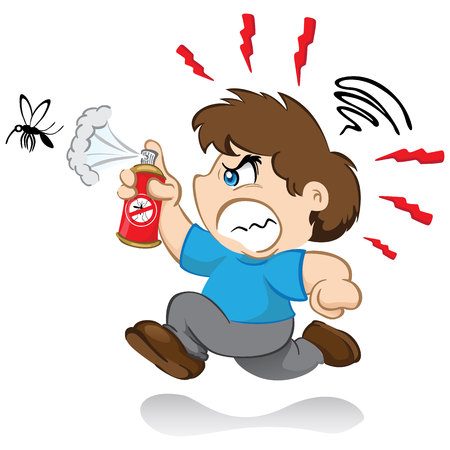 que: Illustration Represents the character yuyu, childrens mascot boy fighting the mosquitoes que transmits the dengue virus or zika with insecticide spray. nervous after running mosquitoes