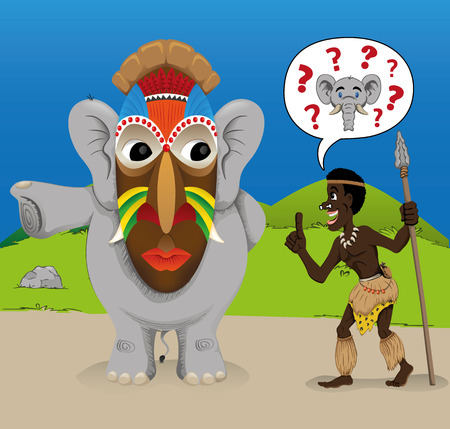african descent: Illustrated charge representing an undercover elephant deceiving an African hunter. Ideal for educational and cultural materials Illustration
