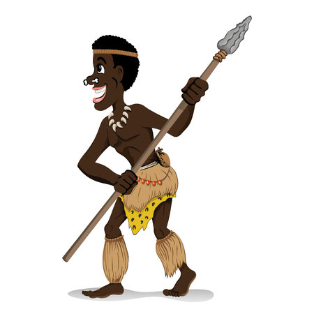 harpoon: Illustration representing Aboriginal warrior of the African culture, holding spear. Ideal for educational and cultural materials Illustration