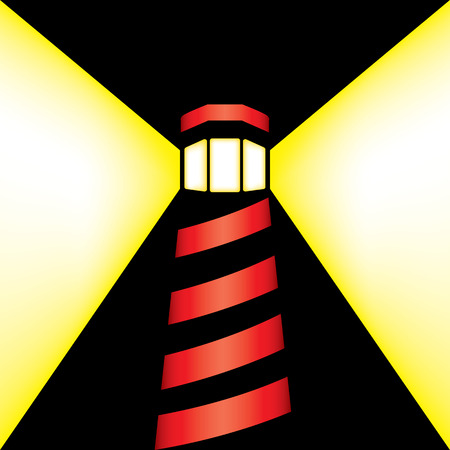 night art: Minimalist art depicting the light of a coastal lighthouse tower in the middle of the night, representing focus, goal, safety. Ideal for institutional and artistic materials