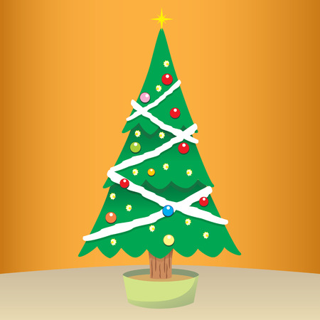 educational materials: Drawing of a Christmas tree mounted. Ideal for institutional and educational materials