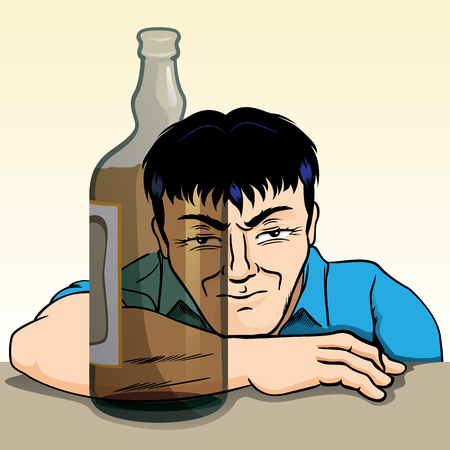 Person drunk, irritated, reflected through the bottle of alcoholic beverage. Ideal for awareness campaigns Illustration