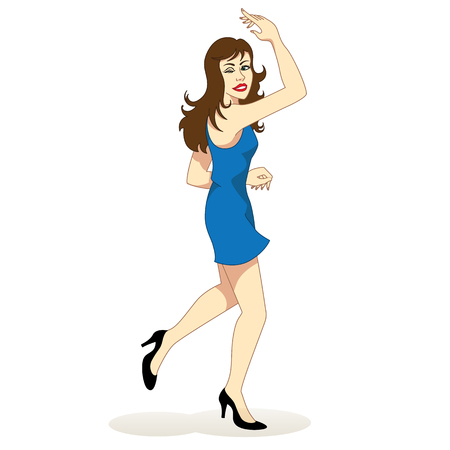 educational materials: Illustration of a brunette happy girl dancing happily. Ideal for institutional and educational materials Illustration
