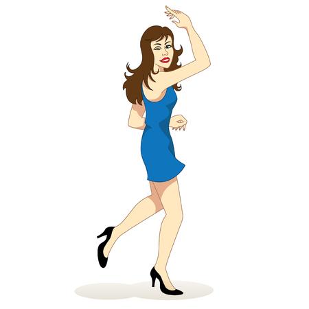 baile caricatura: Ilustración de una niña morena feliz bailando alegremente. Ideal para materiales institucionales y educativas