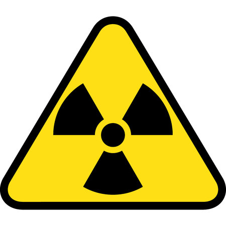 The illustration Represents yellow triangle sign with radiation symbol and radioactive debris. Ideal for catalogs of institutional materials