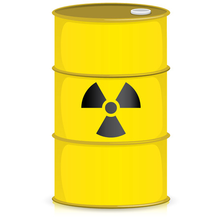 geiger: The illustration Represents the drum with the radiation symbol, product barrel and debris radioactive. Ideal for catalogs of institutional materials