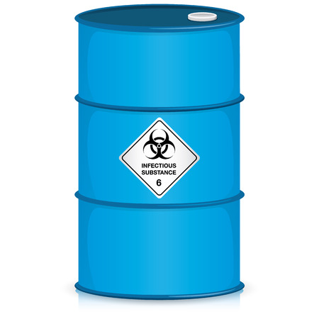 pathogenic: The illustration depicts a drum with the icon biohazard, hospital and chemical waste. Ideal for catalogs of institutional materials Illustration