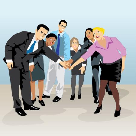 socializando: reunión del grupo de personas ejecutivas que llevan a cabo las manos que indican la unión. Ideal para la comunicación visual, la información y materiales institucionales