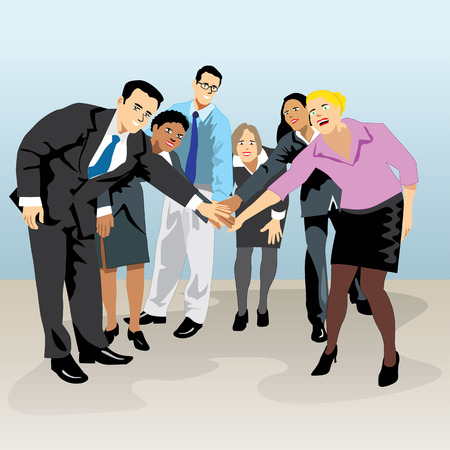 Group meeting of executive people holding hands Indicating union. Ideal for visual communication, information and institutional materials Illustration
