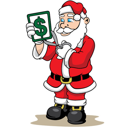Illustration of a Santa Claus cutting a price tag with scissors, Indicating discount, installment or half price