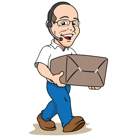 royalty free photo: Illustration mascot bald person carrying a box or order. Ideal for institutional materials and training Illustration