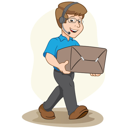 Illustration mascot person selling, carrying a box or order. Ideal for institutional materials and training