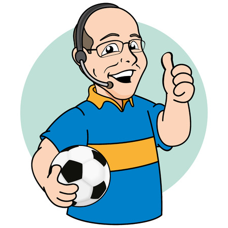 Illustration mascot bald person, or sports commentary narrator of football. Ideal for promotional or institutional materials