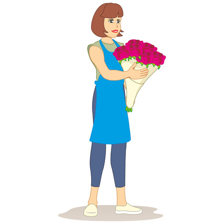 Illustration mascot selling person, florist with a bouquet of roses in hands. Ideal for institutional and educational materials