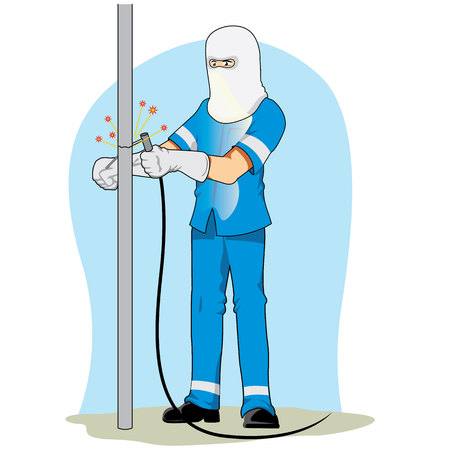 equipment work: Illustration of a worker using safety equipment to weld an iron. Ideal for safety information at work