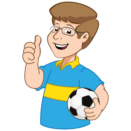 educational materials: Illustration mascot person seller, with soccer ball. Ideal for institutional and educational materials Illustration