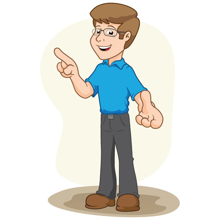 educational materials: Illustration mascot selling person, pointing and explaining something. Ideal for institutional and educational materials Illustration