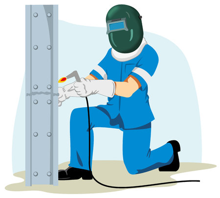 Illustration of a working man using safety equipment to weld an iron beam