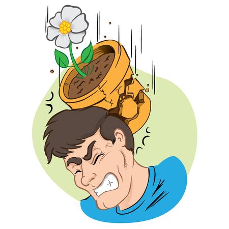 Ilustración persona golpeada por la caída de florero y roto. Ideal para materiales institucionales y educativas