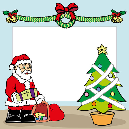 Christmas card, Santa Claus putting the gift on Christmas tree. Ideal for seasonal and Christmas materials Illustration