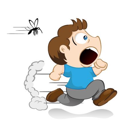 Yuyu character, mascot boy running away running from mosquito dengue, malaria, yellow fever, Aedes Aegypti