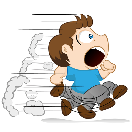 hurried: Yuyu character, boy child mascot running away from something or hurrying. Ideal for institutional or educational materials Illustration