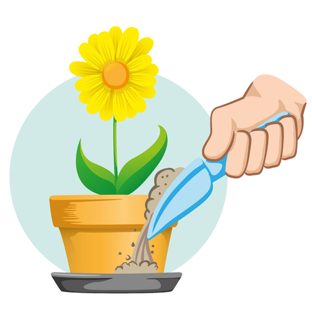 Hand putting sand in the bowl of the pot to fight Aedes Aegypti mosquito, stilt dengue. Ideal for informational and institutional related sanitation and care Illustration